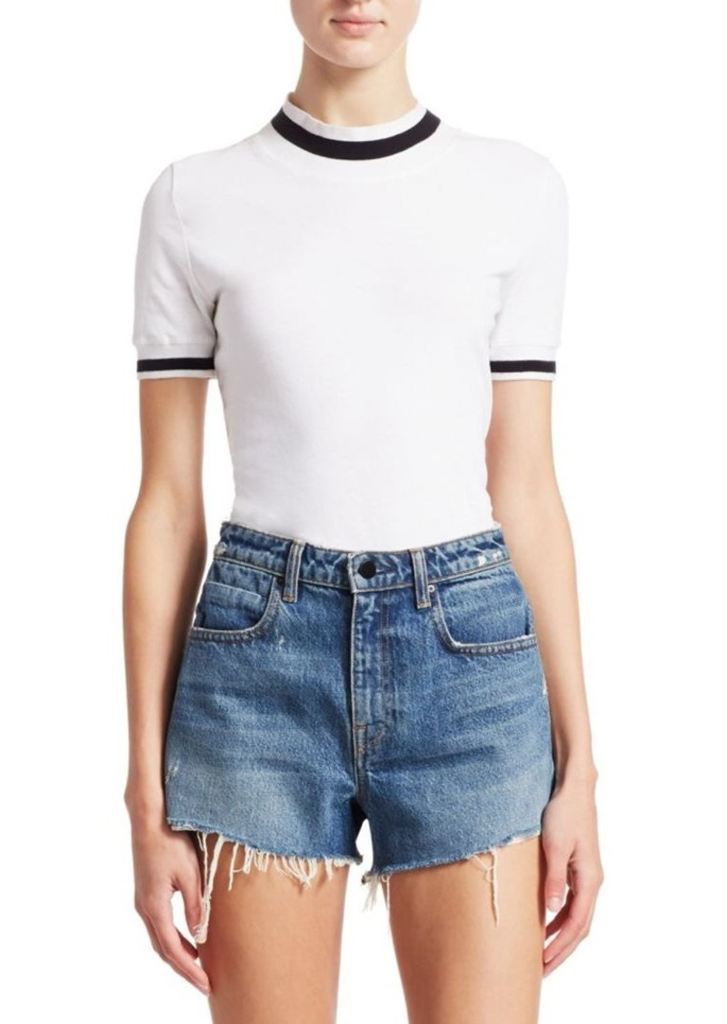 T by Alexander Wang Striped Rib-Knit Trim Top