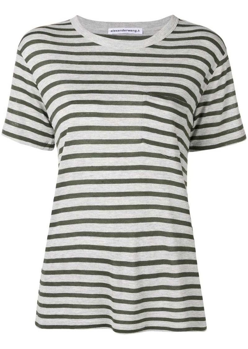 T by Alexander Wang striped slub pocket t-shirt