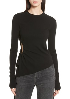 T by Alexander Wang T by Alexander Side Cutout Ruched Merino Wool Sweater