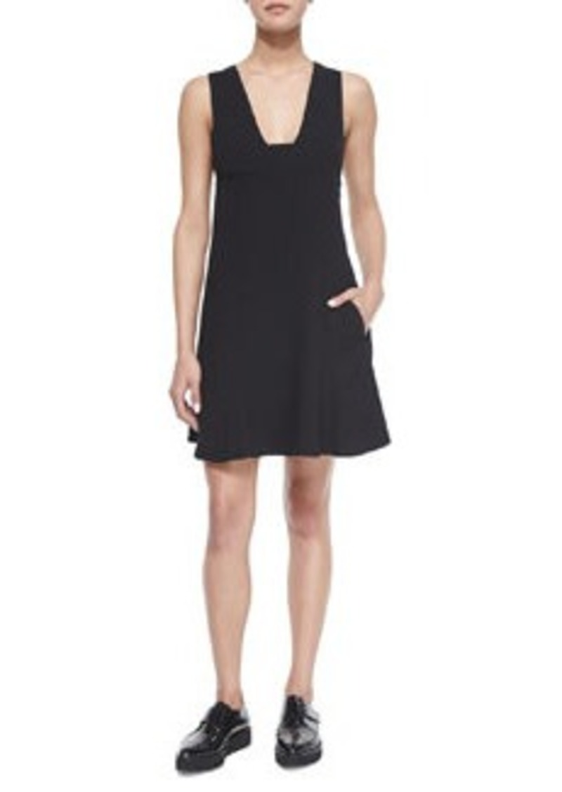 T by Alexander Wang Plunge-Neck A-Line Dress