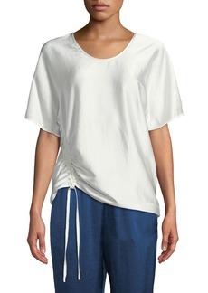 T by Alexander Wang Asymmetric Drape Short-Sleeve Top