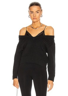 T by Alexander Wang Bi-Layer V Neck Cable Sweater