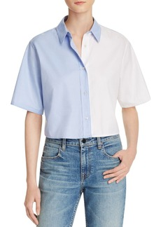 T by Alexander Wang Bicolor Cropped Button-Down Shirt