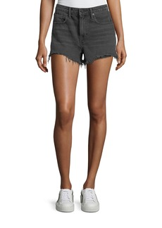 T by Alexander Wang Bite Clash Terry-Lined Denim Cutoff Shorts