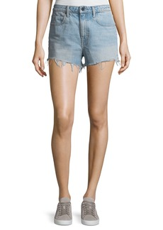 T by Alexander Wang Bite Light-Wash High-Rise Cutoff Denim Shorts
