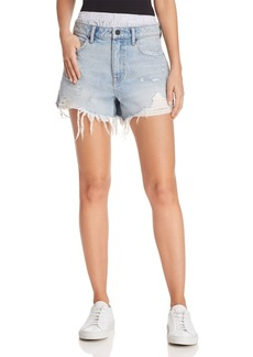 T by Alexander Wang Bite Mix Layered-Look Denim Shorts in Bleach