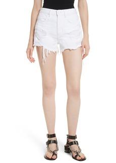 T by Alexander Wang Bite White Ripped Denim Shorts