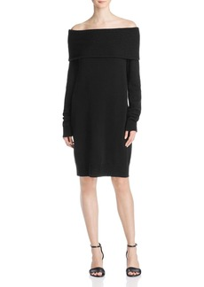 T by Alexander Wang Cashmere Wool Off-The-Shoulder Sweater Dress