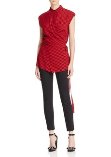 T by Alexander Wang Checkered Wrap Blouse