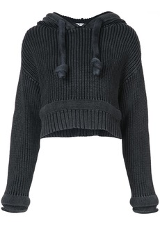 T By Alexander Wang Chunky Knit Hoodie sweater - Black