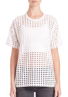 T by Alexander Wang Circular Hole Jacquard Short-Sleeve Top