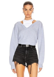 T by Alexander Wang Classic Bi-Layer Off Shoulder Sweater