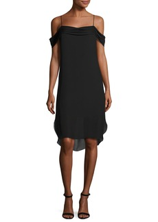 T by Alexander Wang Cold-Shoulder Silk Georgette Dress