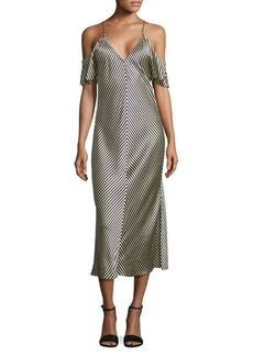 T by Alexander Wang Cold-Shoulder Striped Silk Midi Dress