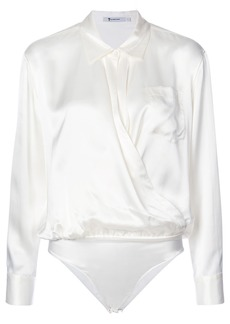 T By Alexander Wang collared silk blouse - White