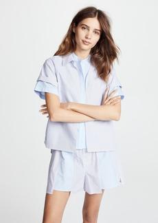 T by Alexander Wang Combo Striped Shirting Layered Top