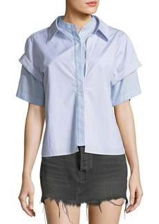 T by Alexander Wang Combo Striped Short-Sleeve Layered Top