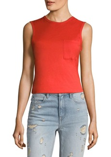 T by Alexander Wang Cotton Jersey Open Back Twist Tank Top