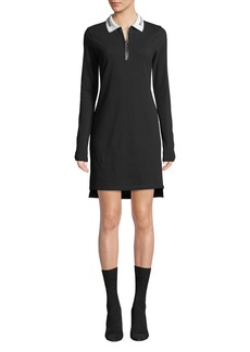 T by Alexander Wang Cotton Pique Polo Short Zip-Front Shirtdress