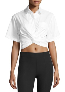 T by Alexander Wang Cotton Twill Twist-Front Blouse