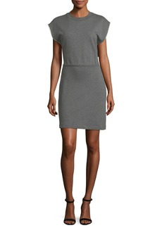 T by Alexander Wang Crewneck French-Terry Cinch-Waist Cotton Dress