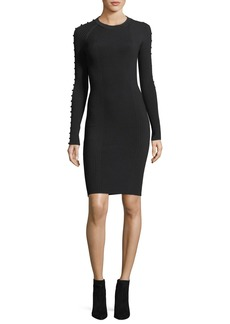 T by Alexander Wang Crewneck Raglan Strap-Detail Rib-Knit Dress
