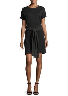 T by Alexander Wang Crewneck Short-Sleeve Shirtdress with Tie Detail