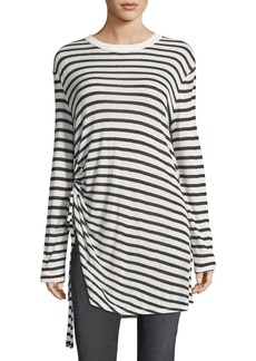 T by Alexander Wang Crewneck Striped Slub Jersey Tee with Ruched Detail
