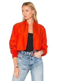 T by Alexander Wang Crop Bomber Jacket in Red. - size 0 (also in 2,6)