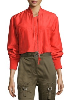 T by Alexander Wang Cropped Boxy Silk-Blend Bomber Jacket
