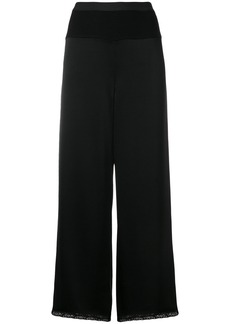 T By Alexander Wang cropped lace trim trousers - Black