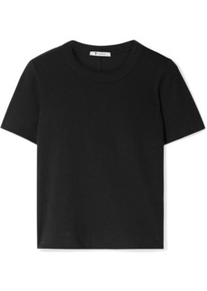 T by Alexander Wang Cropped stretch cotton-jersey T-shirt