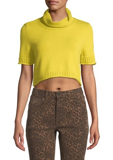 T by Alexander Wang Cropped Turtleneck Short-Sleeve Sweater