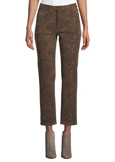 T by Alexander Wang Cult Cropped Leopard-Print Jeans