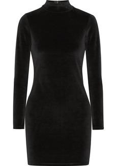 T by Alexander Wang Cutout cotton-blend velvet turtleneck mini dress