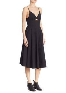 T by Alexander Wang Cutout Cotton Poplin Dress