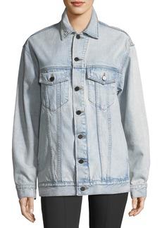 T by Alexander Wang Daze Button-Front Bleached Denim Jacket