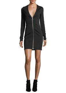 T by Alexander Wang Deep V-Neck Stretch Faille Ponte Long-Sleeve Dress w/ Zipper