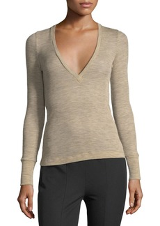 T by Alexander Wang Deep V Sheer Wooly Rib-Knit Sweater