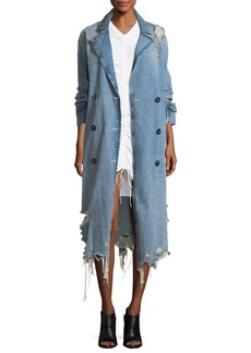 T by Alexander Wang Distressed Double-Breasted Trench Denim Coat