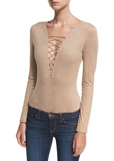 T by Alexander Wang Faux-Suede Long-Sleeve Lace-Up Bodysuit
