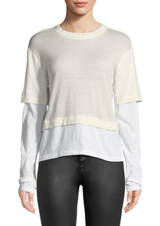 T by Alexander Wang Fine-Gauge Layered Cropped Top