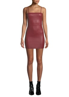 T by Alexander Wang Fitted Leather Cami Mini Dress