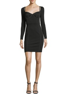 T by Alexander Wang Fitted Long-Sleeve Bustier Dress