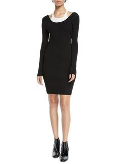 T by Alexander Wang alexanderwang.t Fitted Long-Sleeve Layered Viscose Short Dress