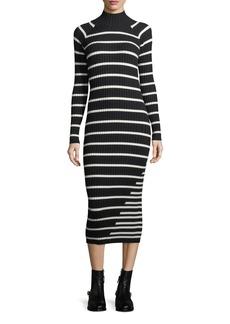 T by Alexander Wang Fitted Rib-Knit Intarsia Stripe Turtleneck Dress