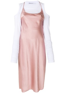 T By Alexander Wang flared midi dress - Pink & Purple