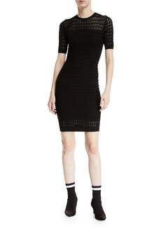 T by Alexander Wang Float-Stitch Lace Short-Sleeve Body-con Dress