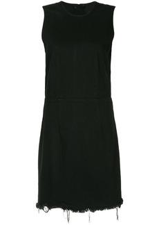 T By Alexander Wang frayed denim dress - Black