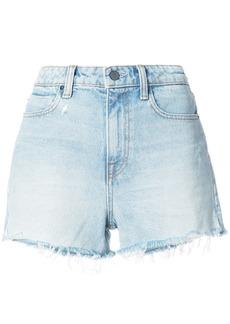 T By Alexander Wang frayed denim shorts - Blue